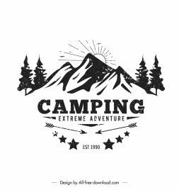 mountain camping banner vintage handdrawn design