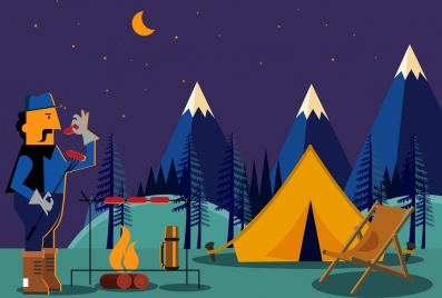 mountain camping drawing man campfire tent icons