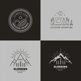 mountain camping logotypes black white sketch
