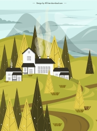 mountain countryside landscape painting colored classic design