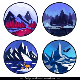 mountain forest scenic backgrounds colored classic decor