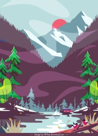 mountain lake landscape painting colorful classic decor