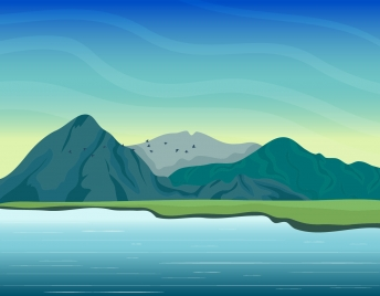 mountain lake scene painting colored cartoon design