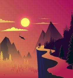 mountain landscape background colored cartoon design sun icon