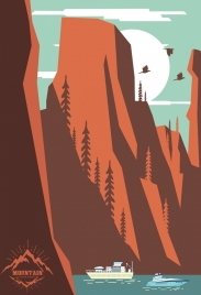 mountain landscape drawing colored cartoon design