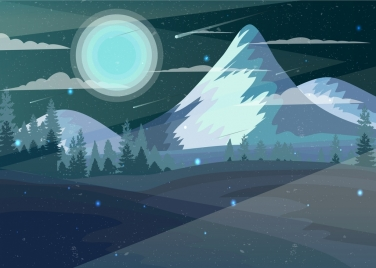 mountain landscape drawing moonlight scene colored cartoon