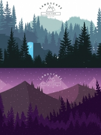 mountain landscape drawing sets blue violet decor