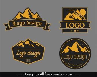 mountain logotypes templates flat retro handdrawn design