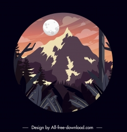 mountain moon scene background colored classic circle isolation