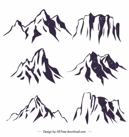 mountain peak icons classical handdrawn design