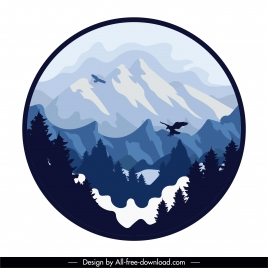 mountain view background classical design circle isolation