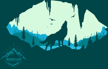 mountain wildlife background wolf bird icons silhouette decoration