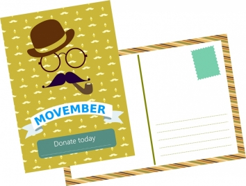 movember postcard template old man and mustache pattern