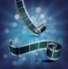 movie advertising background film roll icons 3d design