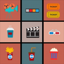 movie design element various flat colorful symbols isolation