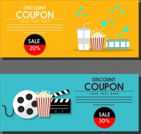 movie discount coupon templates colored symbols icons ornament