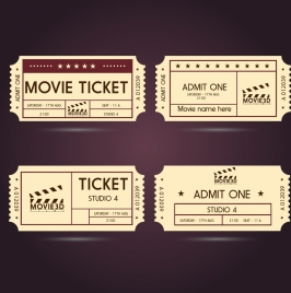 movie ticket templates classical horizontal style