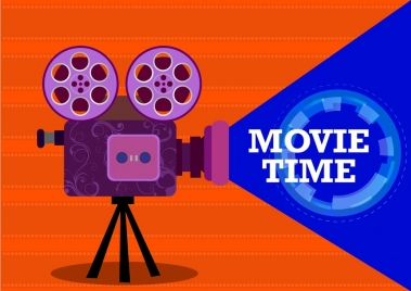 movie time background colored cine projector icon