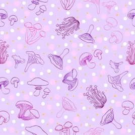 mushroom background violet repeating decor handdrawn design