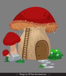 mushroom house icon colored classic vintage decor