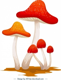 mushroom icon colored classical 3d sketch
