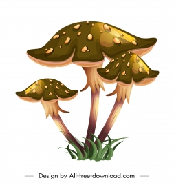 mushroom icon shiny colored classical design