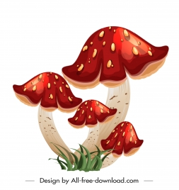 mushroom icon shiny colorful modern design