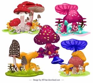 mushroom icons colorful design growth sketch