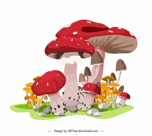 mushroom painting colorful luxuriant growth sketch