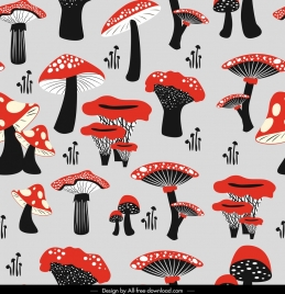 mushrooms pattern black red repeating decor