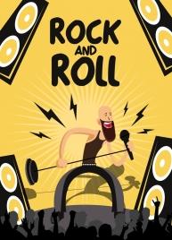 music advertising banner performing singer icon cartoon design