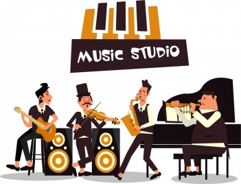 music background bandsman acoustic icons cartoon characters