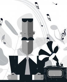 music background man speaker notes icons retro design