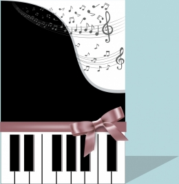 music background piano keyboard notes ribbon icons decor