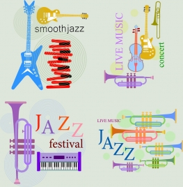music background sets various instruments icons colored flat