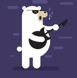 music background stylized bear singer icon flat design