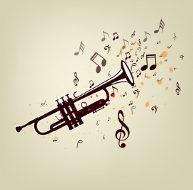 music background trumpet notes icons decor