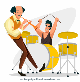 music band icon flute drum instruments sketch
