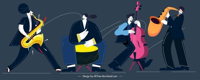 music band icons dynamic design cartoon sketch