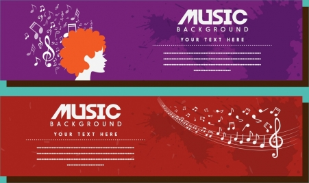 music banner flying notes on red violet background
