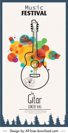 music banner guitar sketch colorful flat design