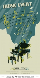 music banner retro twisted dynamic notes piano decor