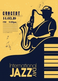 music concert banner saxophonist icons silhouette classical design