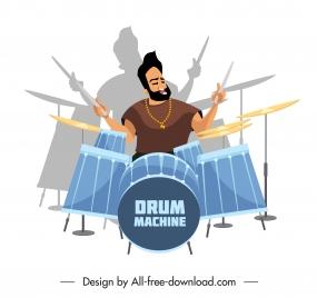 music design element drummer icon sketch cartoon character