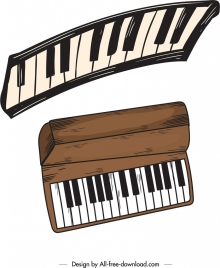 music design elements piano keyboard icons retro design