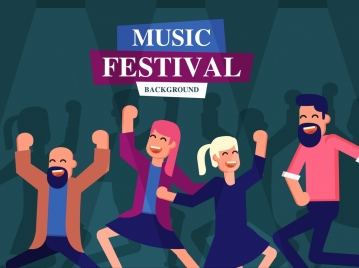 music festival banner dancers icons cartoon characters decor