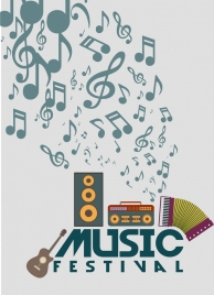 music festival banner retro instrument and notes design