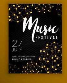 music festival flyer template dark 3d spheres sketch