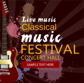 music festival poster guitar icon grunge watercolor design