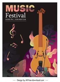 music festive banner colorful dark classic violin decor
